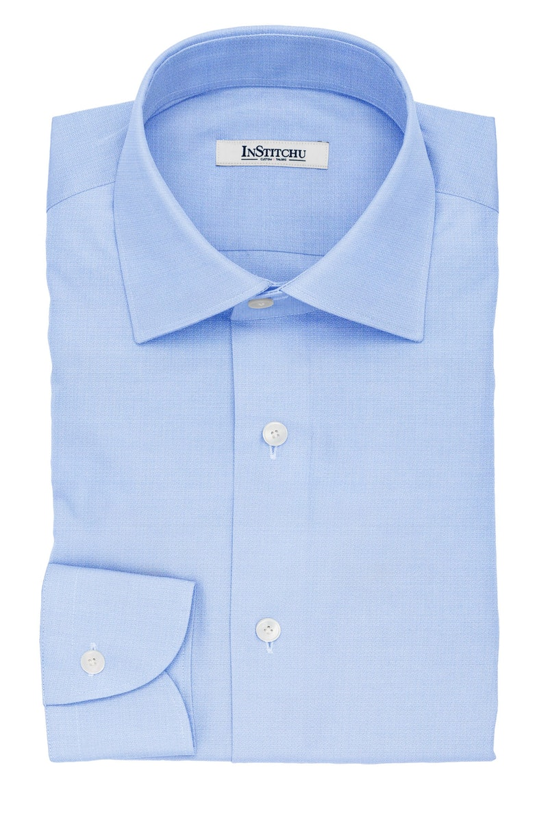 InStitchu Collection The Wordsworth Blue and White Herringbone Cotton Shirt