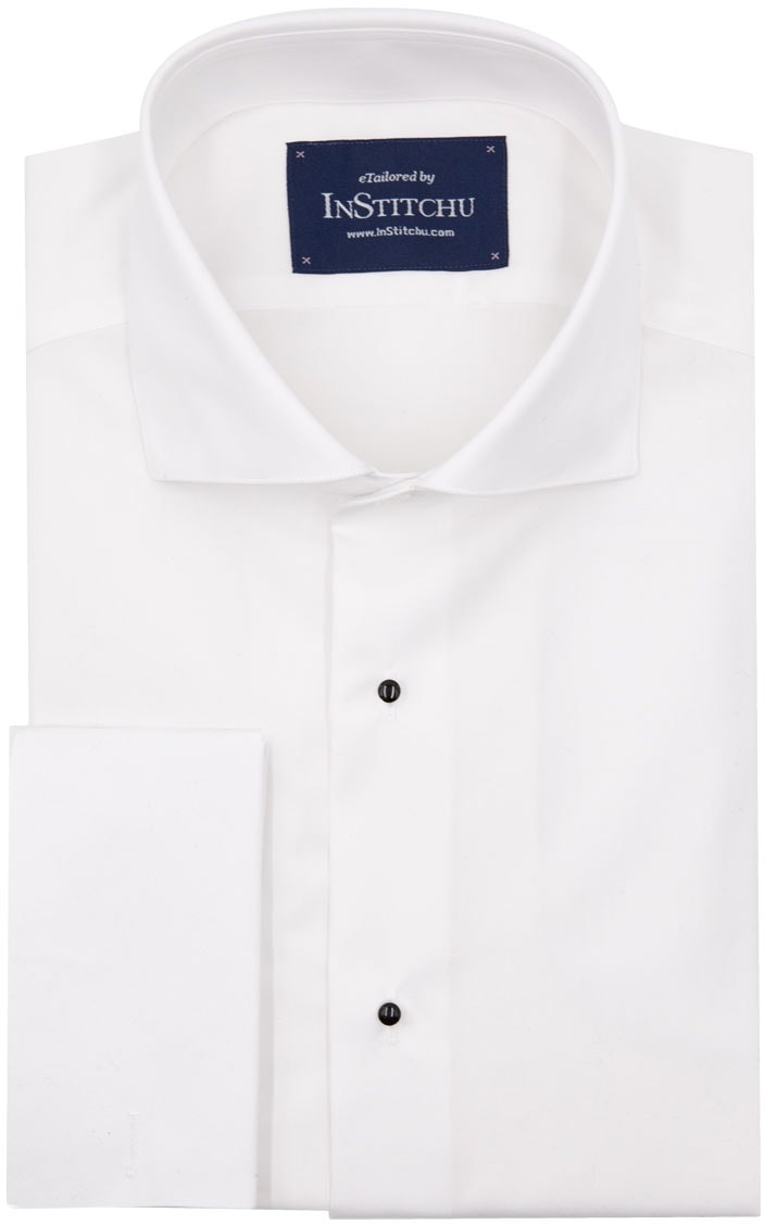 InStitchu Collection Wrinkle Free Plain Tuxedo Shirt with Studs