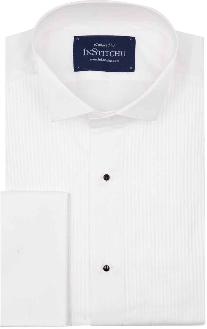 InStitchu Collection Wrinkle Free Pleated Tuxedo Shirt