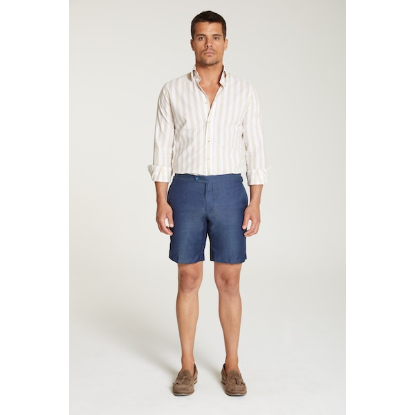 InStitchu Collection The Albori Blue Wool/Linen Shorts