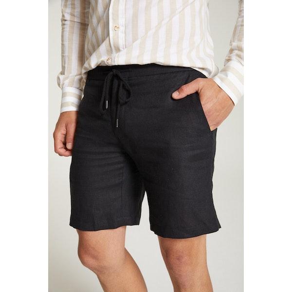 InStitchu Collection The Atrani Black Linen Shorts