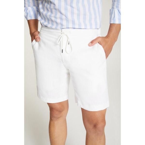 InStitchu Collection The Bomerano White Linen Shorts
