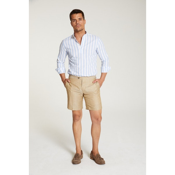 InStitchu Collection The Dragonea Beige Wool/Linen Shorts