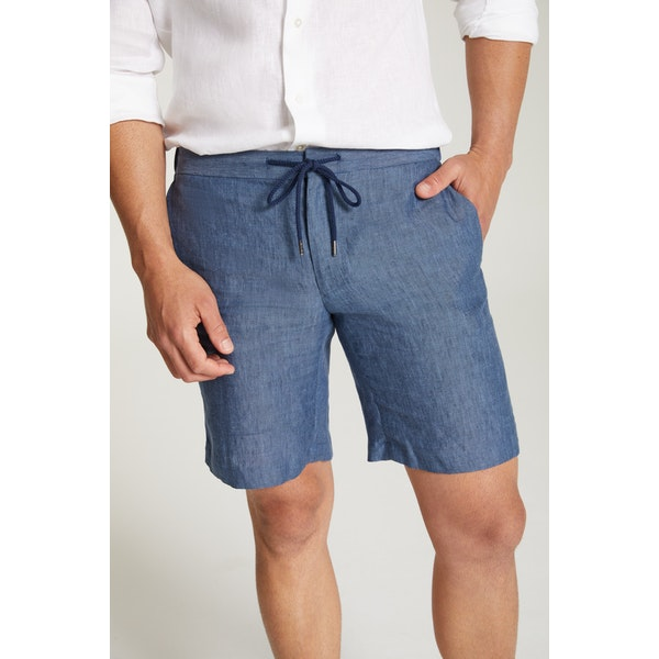InStitchu Collection The Furore Navy Linen Shorts