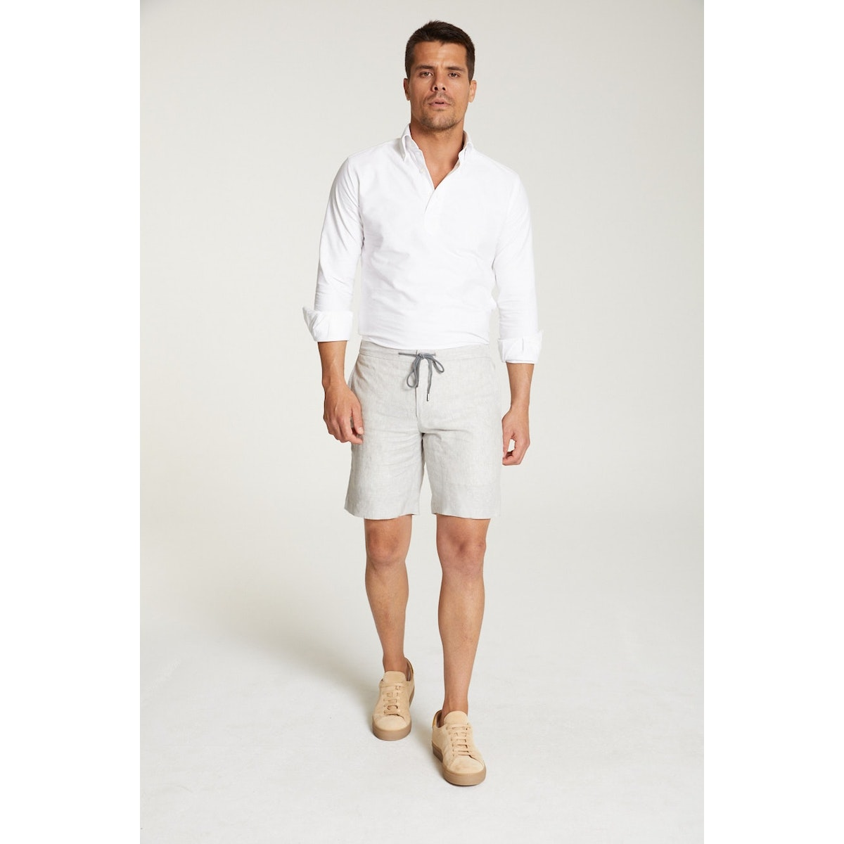 InStitchu Collection The Maiori Pale Grey Linen Shorts