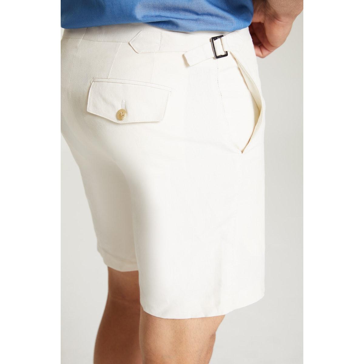 InStitchu Collection The Pietre Cream Linen/Silk Shorts