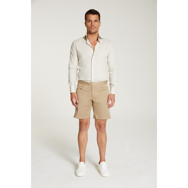 InStitchu Collection The Tramonti Beige Cotton Shorts