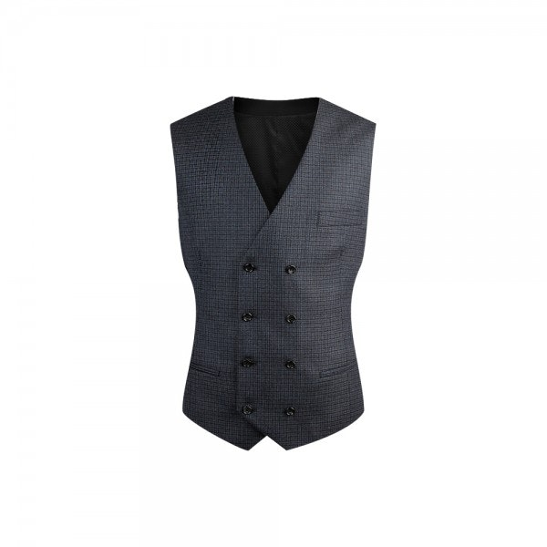 InStitchu Collection Blue Plaid Double Breasted Vest