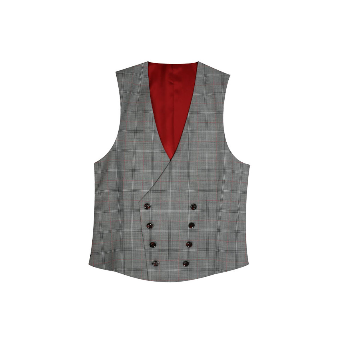 InStitchu Collection The Vanni Grey and Red Windowpane Wool Vest