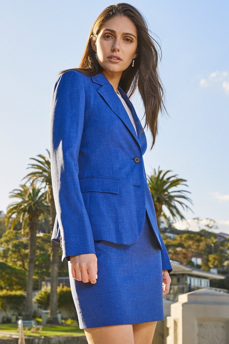 InStitchu Collection The Baudin Blue Textured Jacket