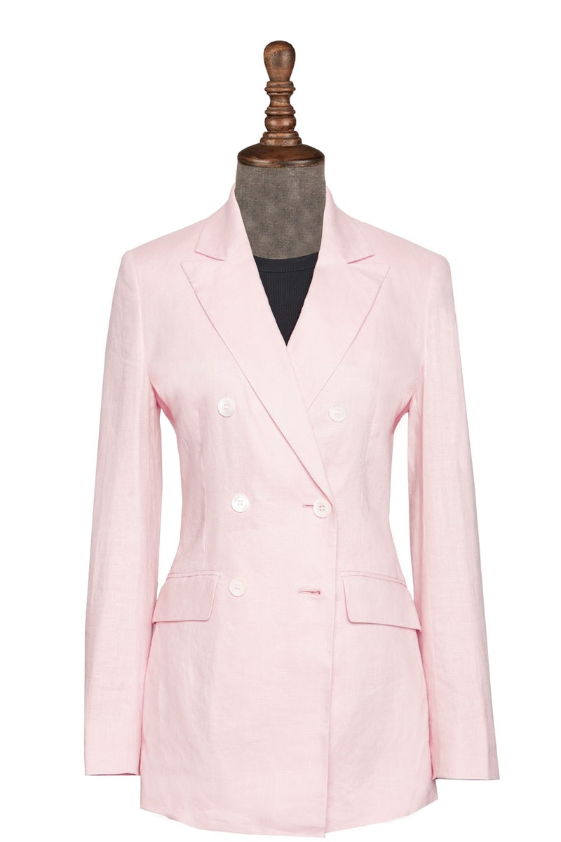 InStitchu Collection The Bridgewater Pink Linen Jacket