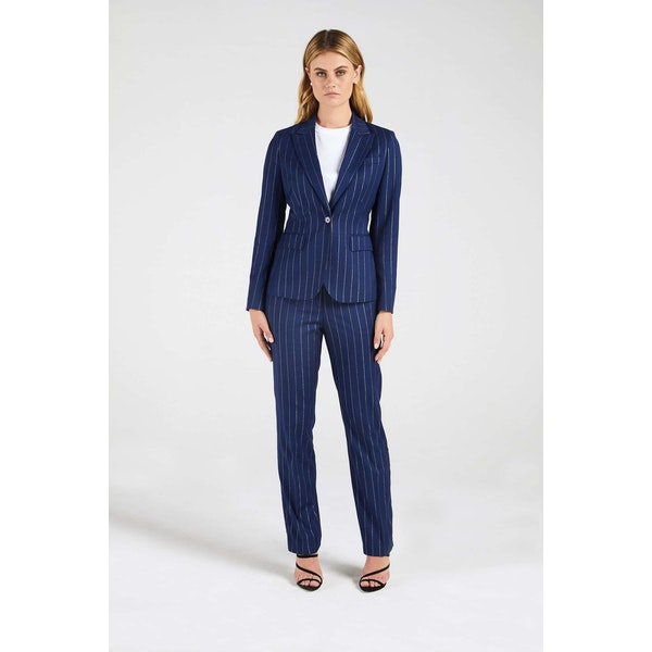 InStitchu Collection The Bryce Navy and Wide Gold Pinstripe Jacket