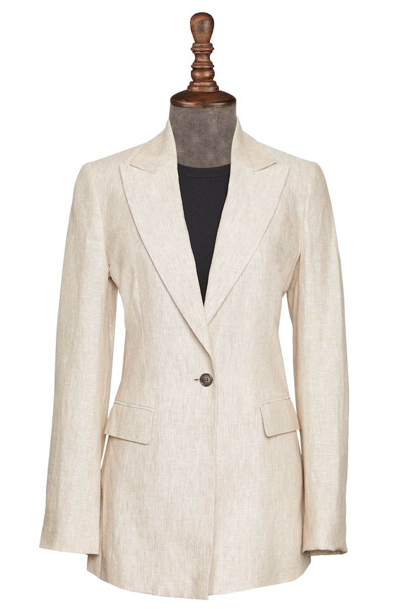 InStitchu Collection The Casuarina Beige Linen Jacket