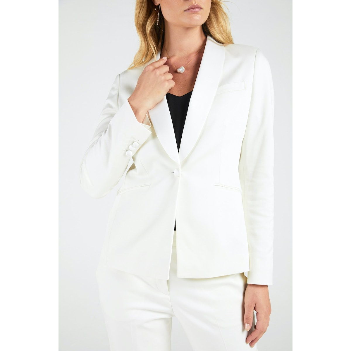InStitchu Collection The Curtis Ivory Tuxedo Jacket