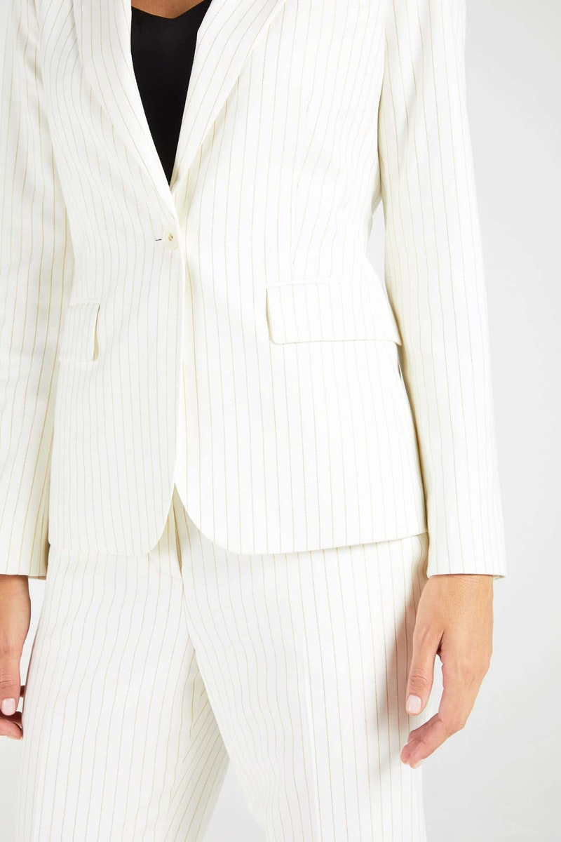 InStitchu Collection The Durack White and Gold Pinstripe Jacket