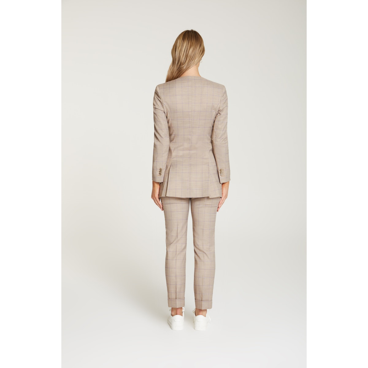 InStitchu Collection The Kahlo Beige Windowpane Jacket