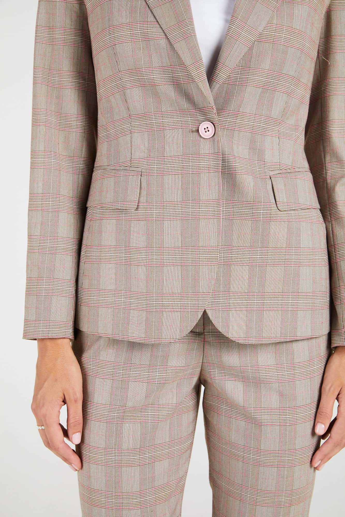 InStitchu Collection The McAuley Brown and Pink Glen Plaid Jacket