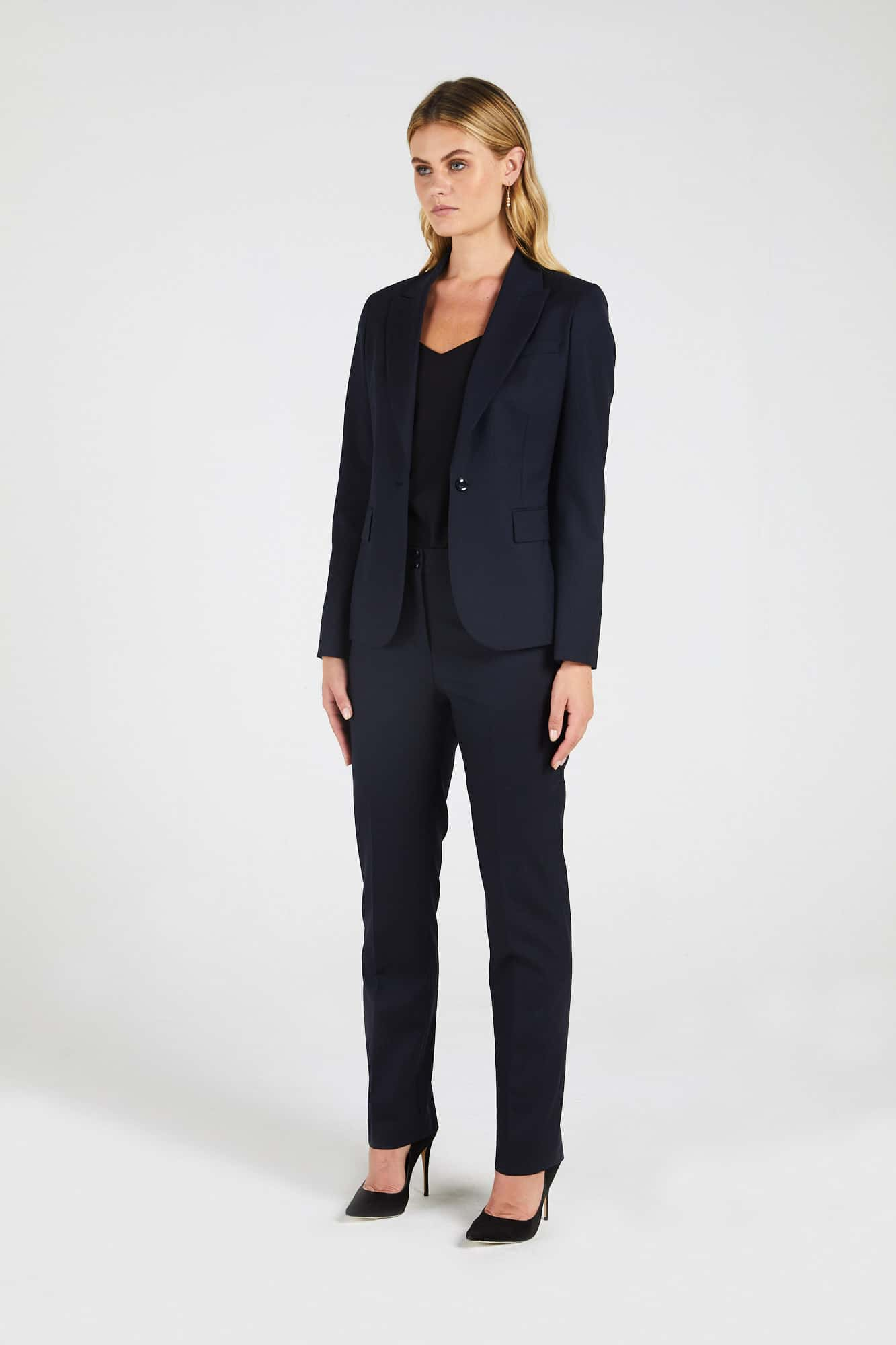 InStitchu Collection The Pattie Dark Navy Herringbone Jacket