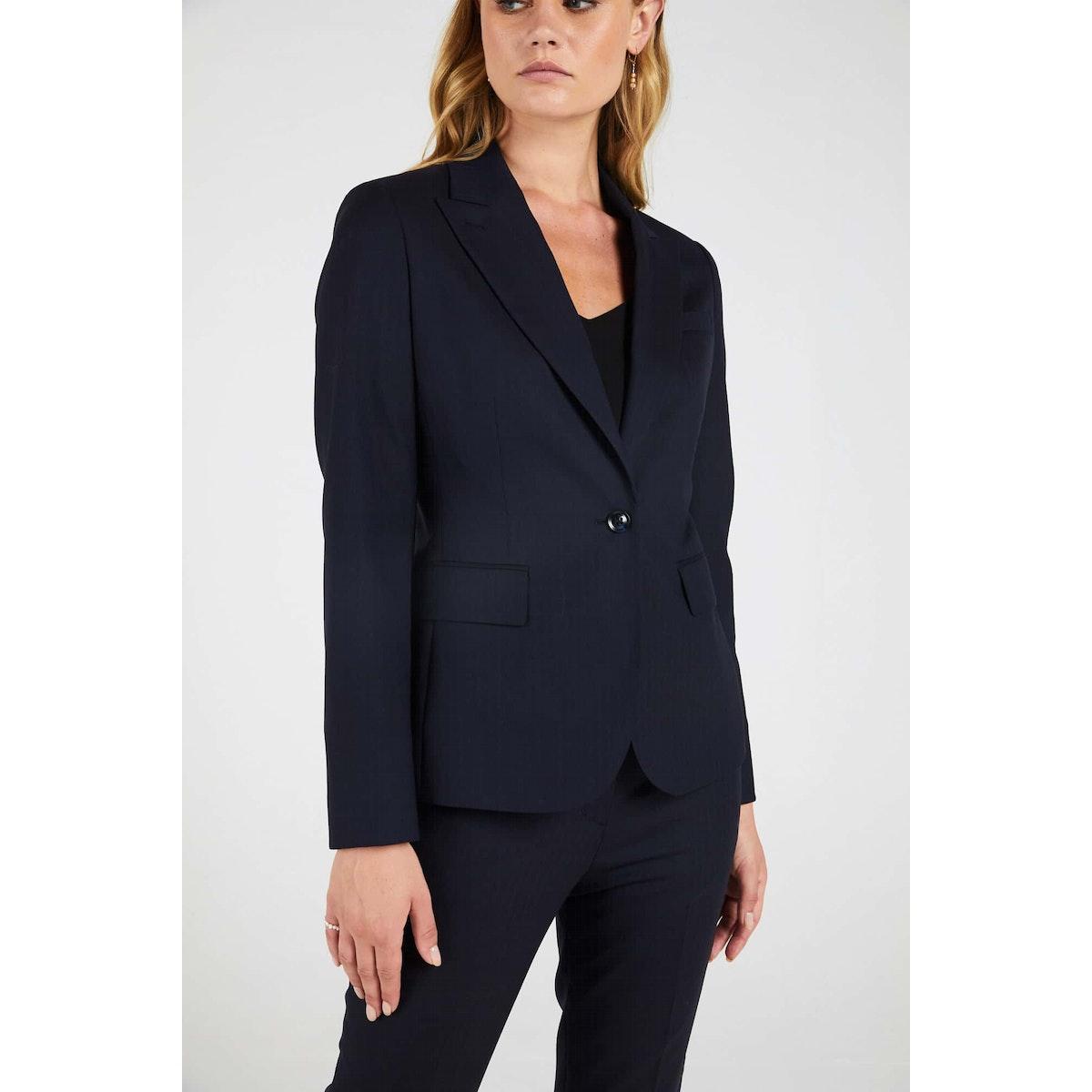 InStitchu Collection The Pattie Dark Navy Herringbone Jacket