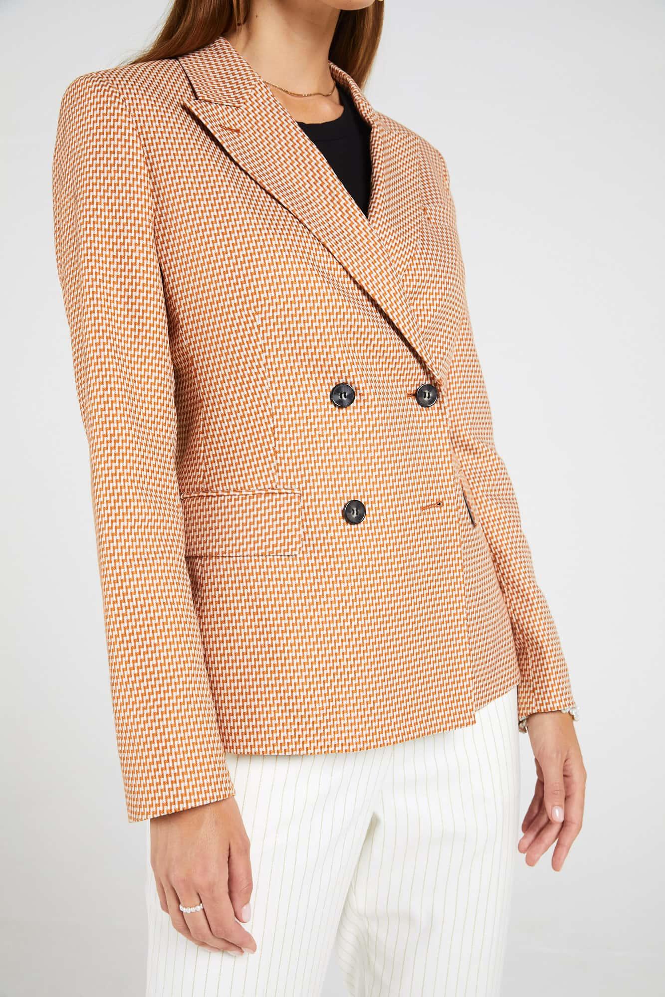 InStitchu Collection The Spence Orange and White Zig-Zag Jacket