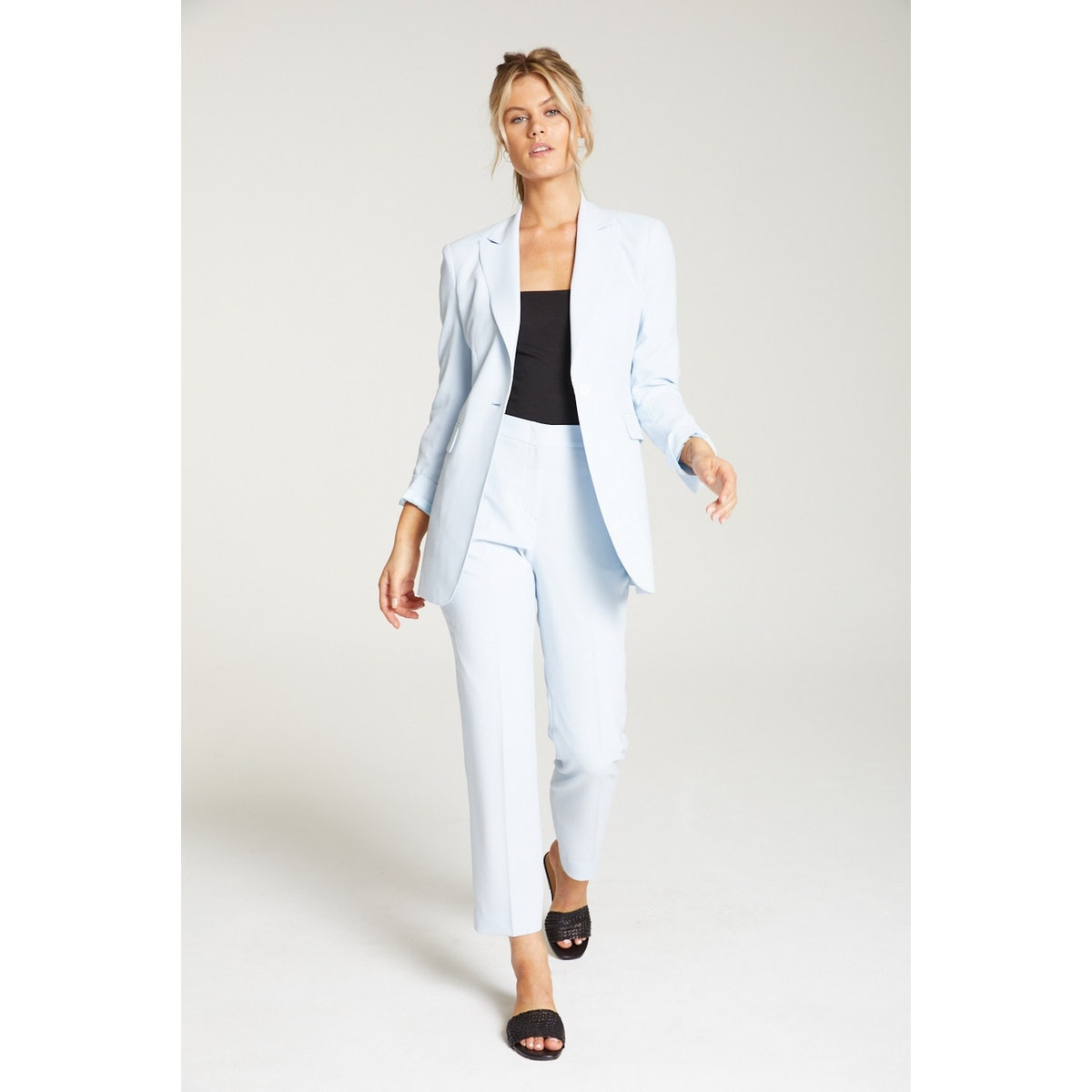InStitchu Collection The Vanderbeek Pastel Blue Crepe Jacket