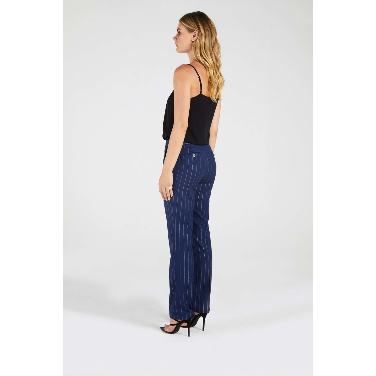 InStitchu Collection The Bryce Navy and Wide Gold Pinstripe Pants