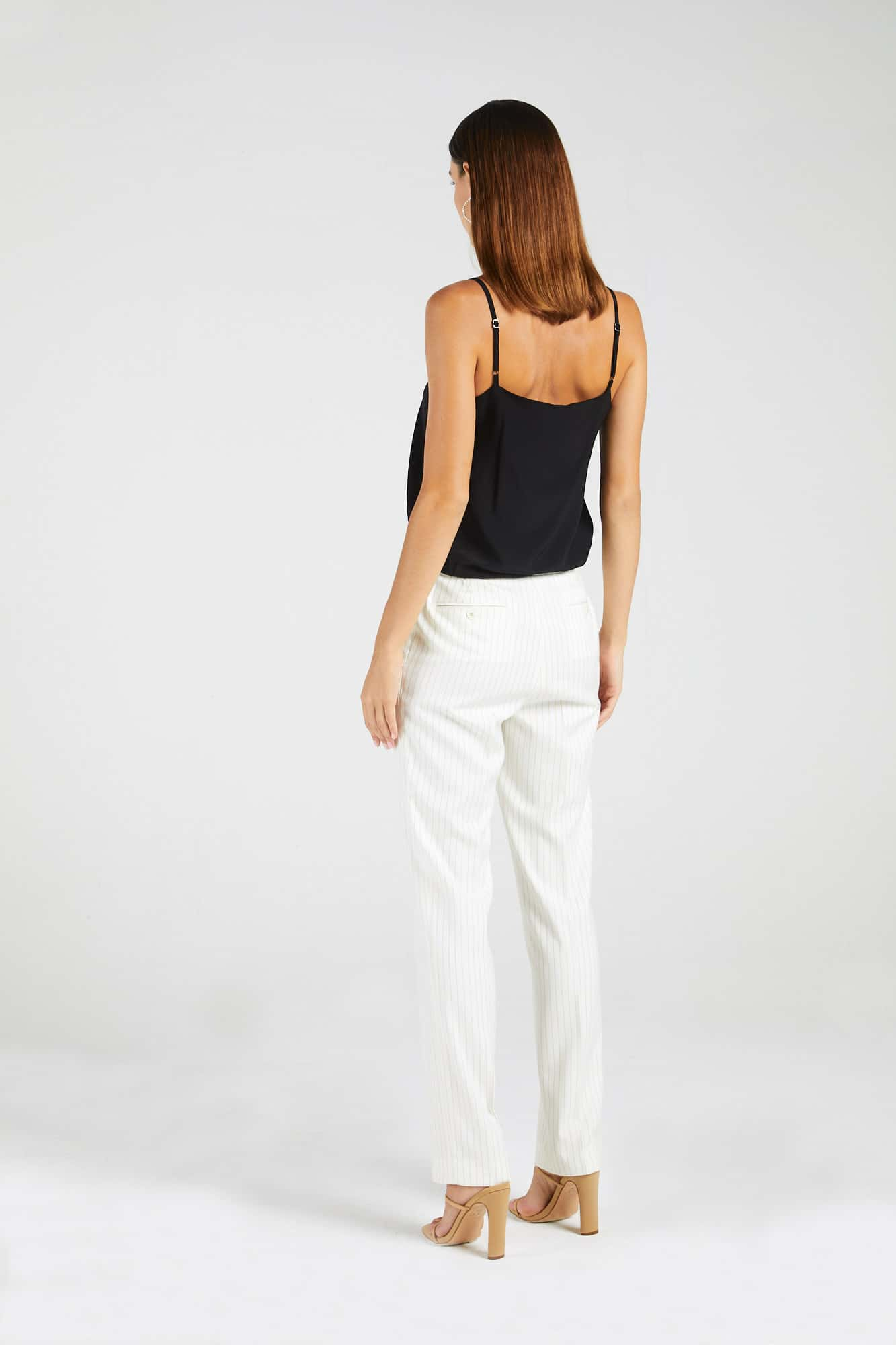 InStitchu Collection The Durack White and Gold Pinstripe Pants