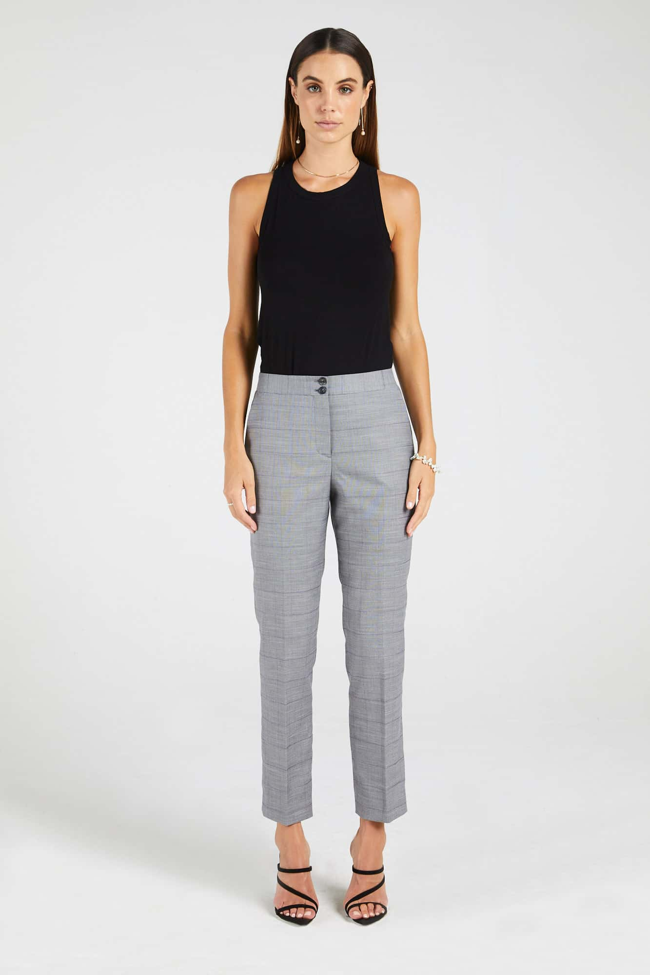 InStitchu Collection The Fraser Pastel Purple Windowpane Grey Pants