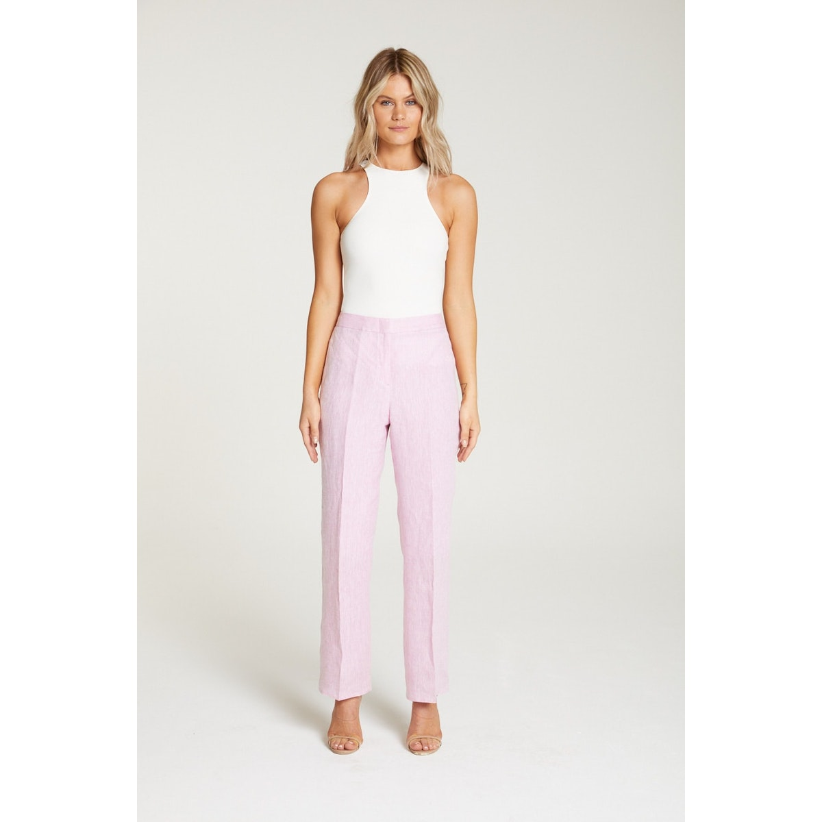 InStitchu Collection The Hendry Pink Linen Pants