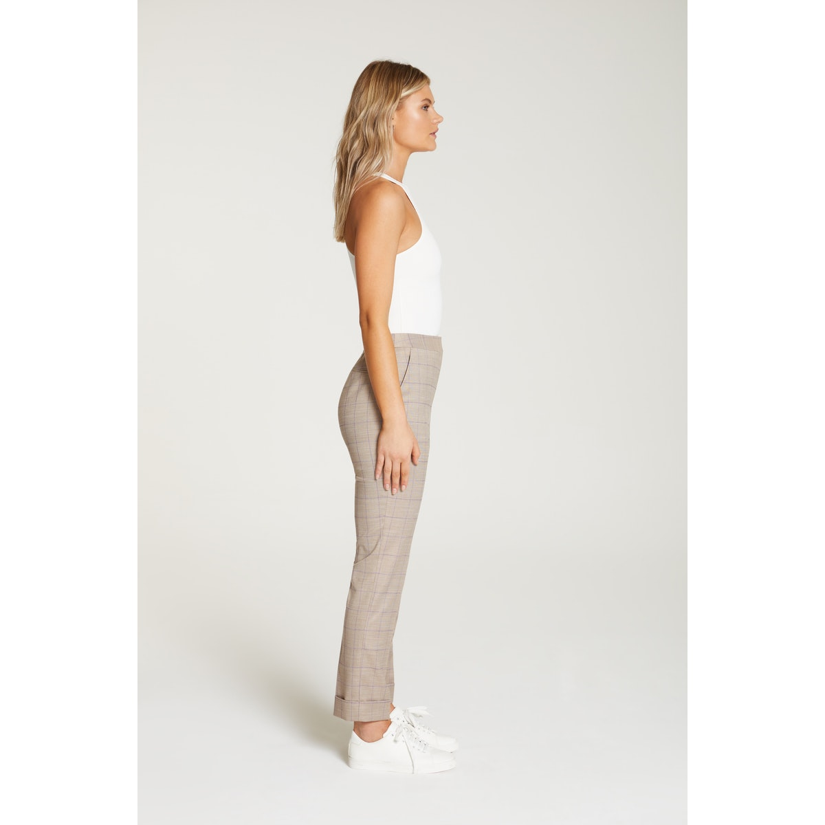 InStitchu Collection The Kahlo Beige Windowpane Pants
