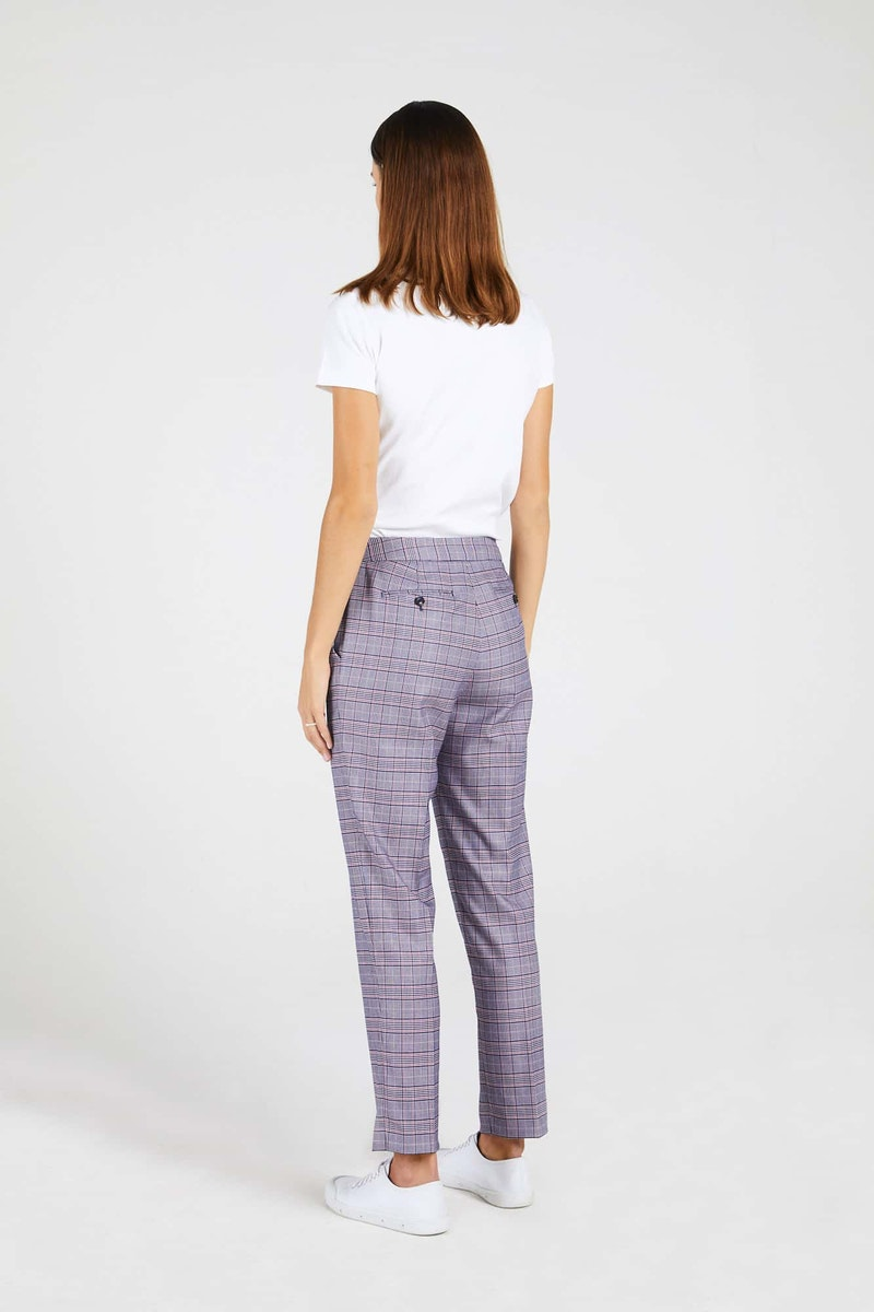 InStitchu Collection The Lovely Navy and Pink Glen Plaid Pants