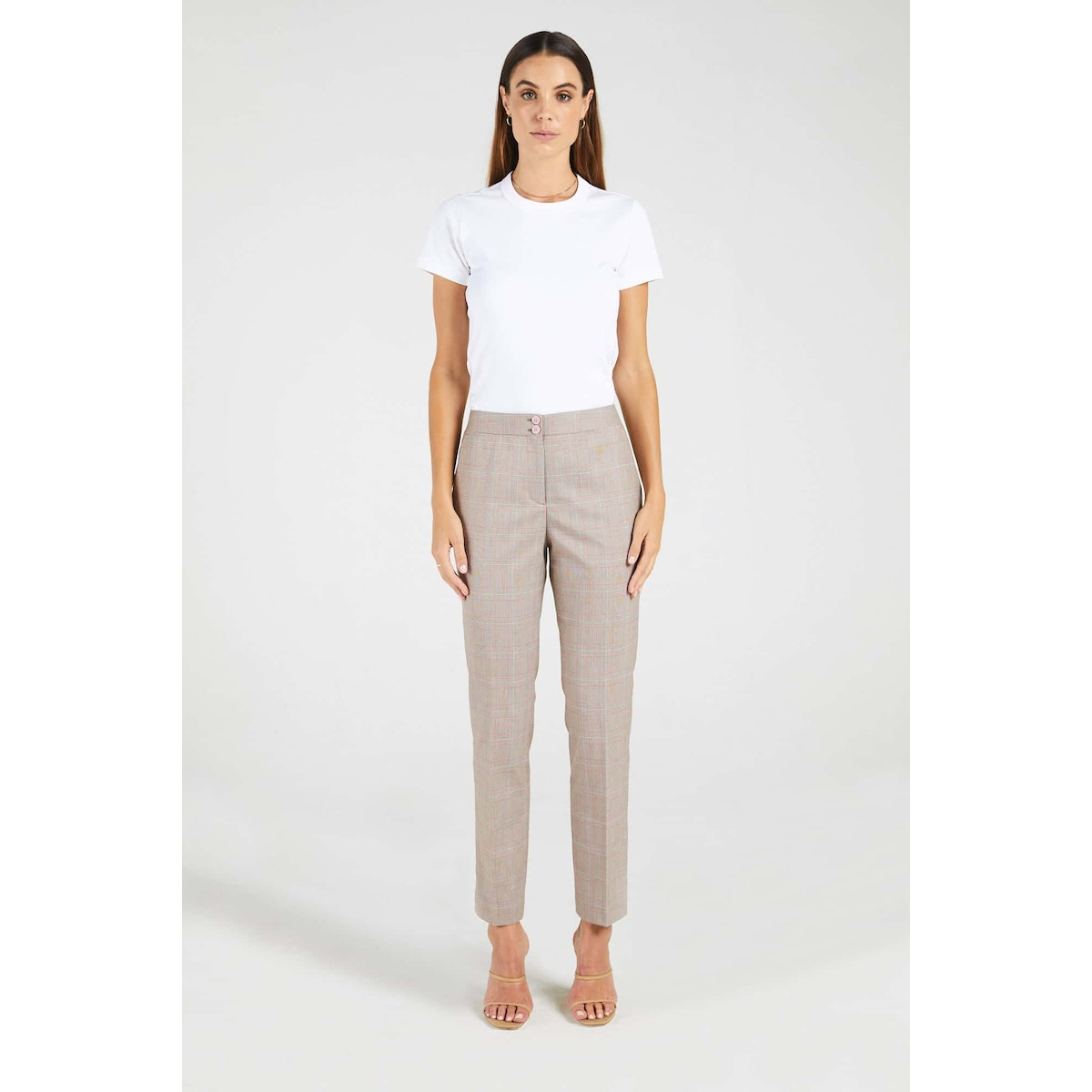 InStitchu Collection The McAuley Brown and Pink Glen Plaid Pants