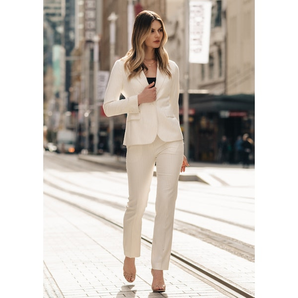 InStitchu Collection The Norah White Pinstripe Pants