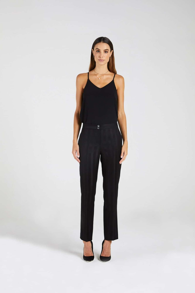 InStitchu Collection The Watts Thick Black Pinstripe Pants