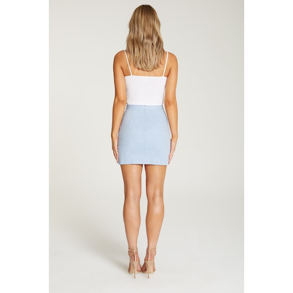 InStitchu Collection The Augusta Baby Blue Linen Skirt