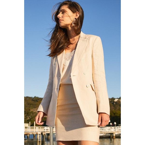 InStitchu Collection The Cabarita Cream Linen Skirt