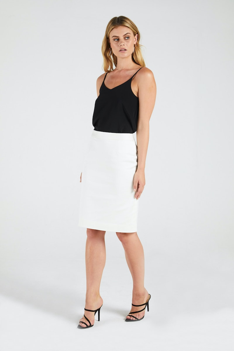 InStitchu Collection The Curtis Ivory Tuxedo Skirt