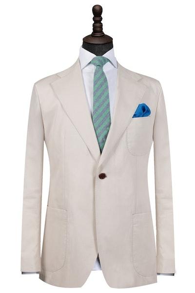Beige Cotton Single-Breasted Blazer
