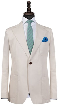 Beige Cotton Single-Breasted Blazer