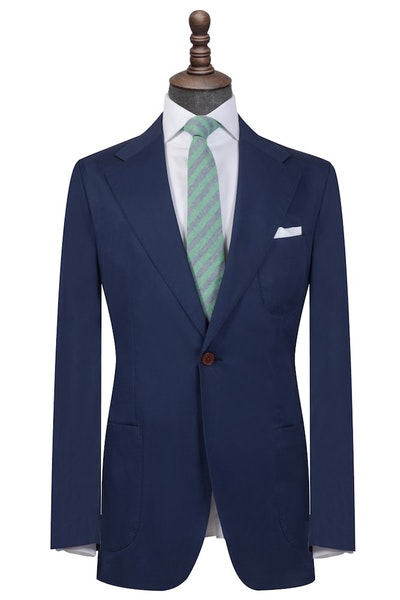 Dark Blue Cotton Single Breasted Blazer