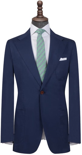 Dark Blue Cotton Single Breasted Blazer