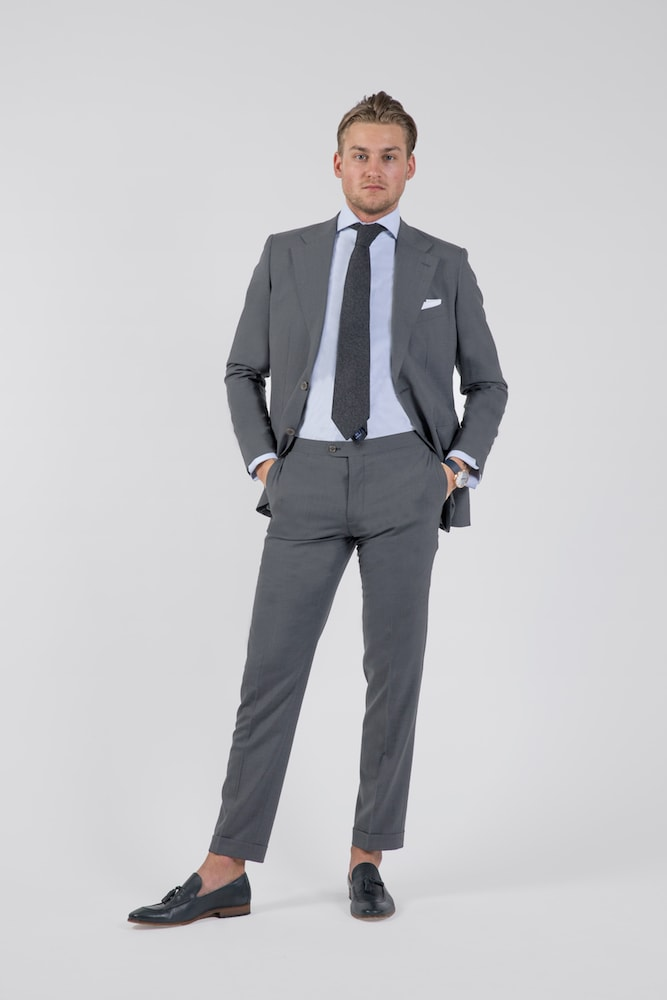 Grey Cool Wool Single-Breasted Blazer