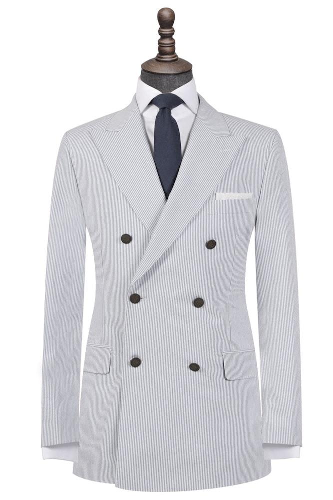 Grey on White Seersucker Double-Breasted Blazer