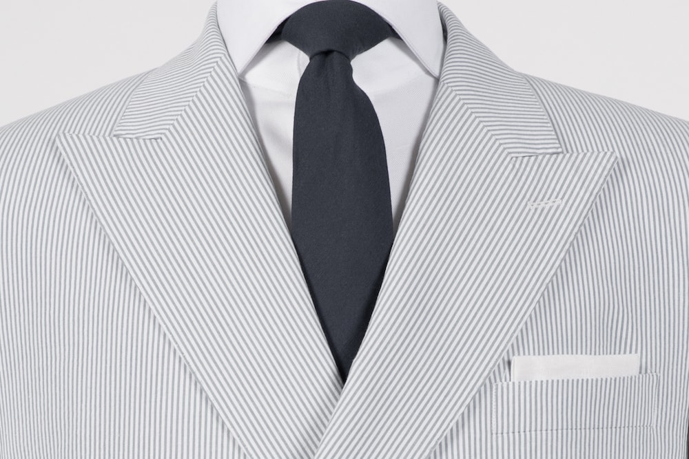 Grey on White Seersucker Double-Breasted Blazer