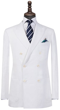 Ivory Pure Linen Double-Breasted Blazer