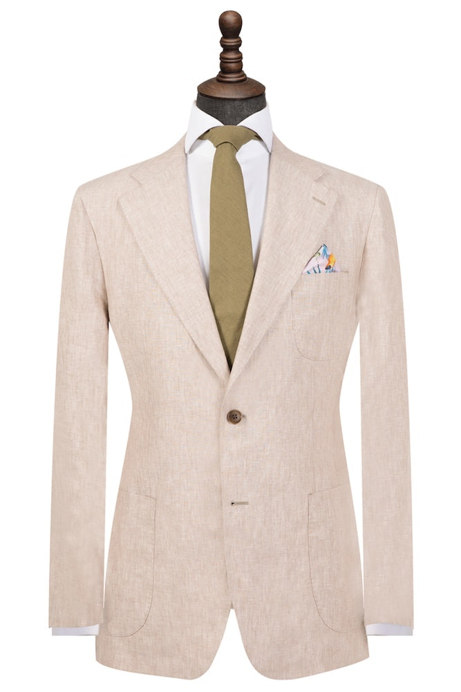 Beige Pure Linen Single-Breasted Blazer