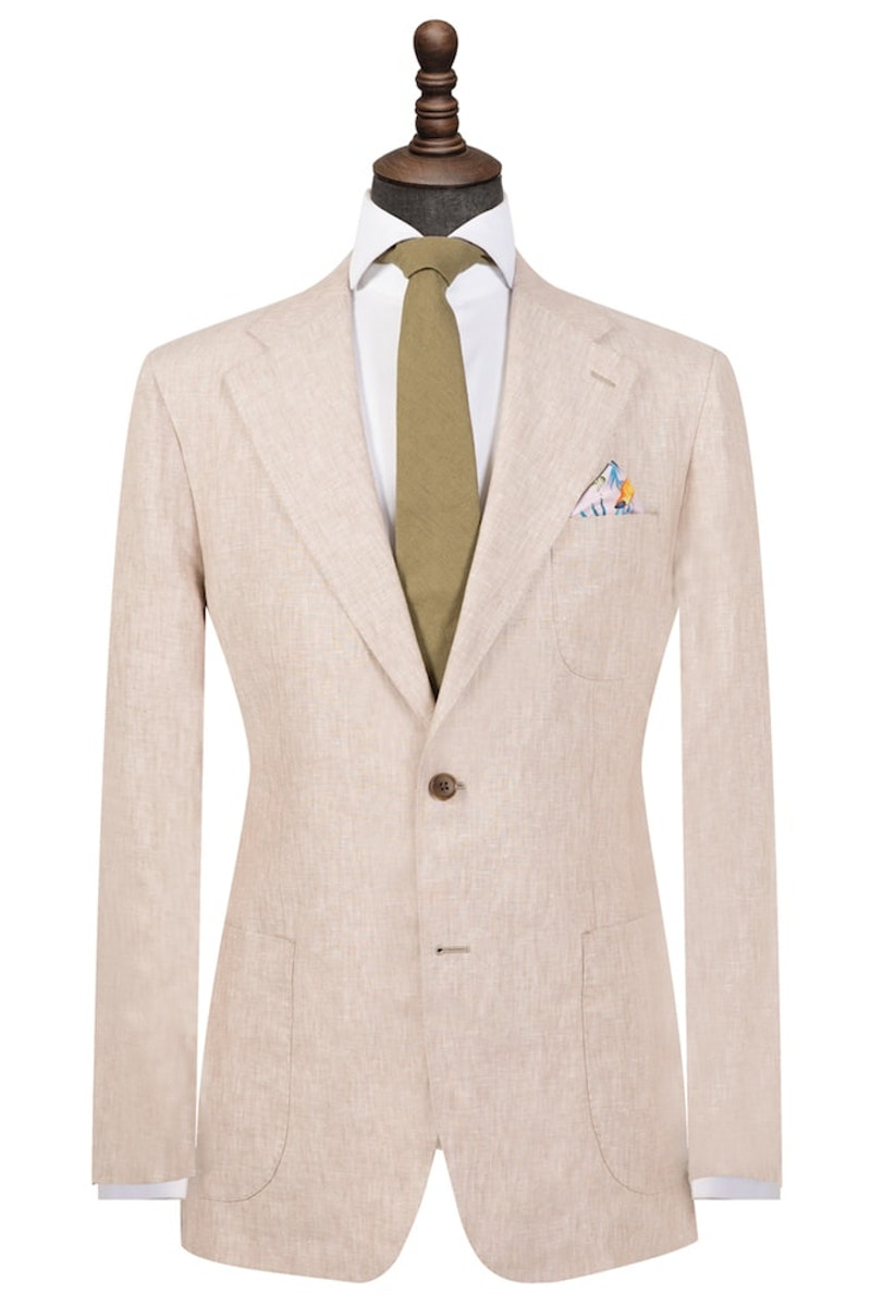 Light Brown Pure Linen Single-Breasted Blazer