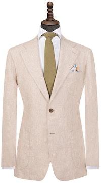 Light Brown Pure Linen Single-Breasted Blazer