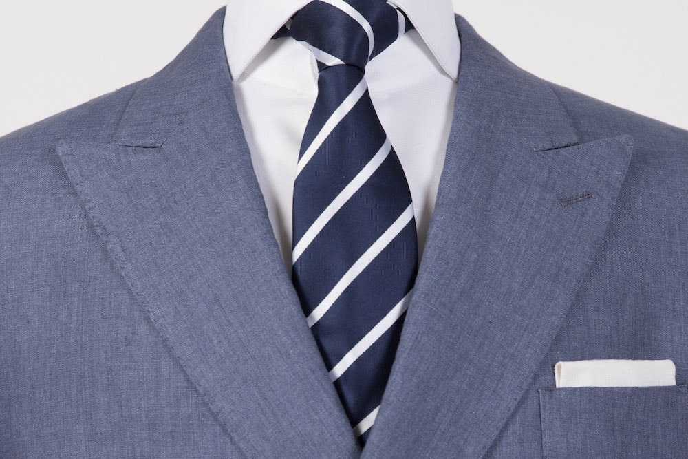 Midnight Blue Linen Double-Breasted Blazer