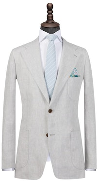 Grey Pure Linen Single-Breasted Blazer